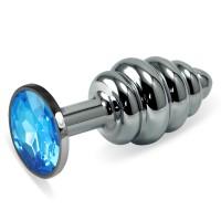 Анальная пробка Silver Small Plug рифленая голубая