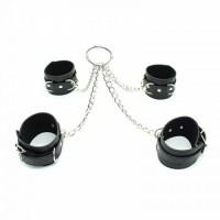 Бондажный набор наручники и поножи на цепях чёрный
