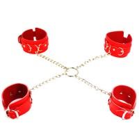 Бондажный набор наручники и поножи на цепях красный