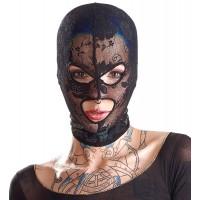 Кружевная черная маска с прорезями для глаз и рта