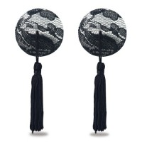 Пэстисы для груди Reusable Black Lace Round Tassel Nipple Pasties