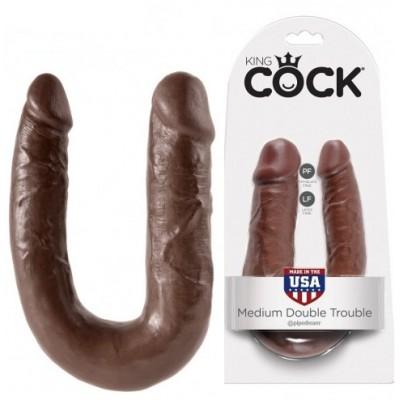 Двойной фаллоимитатор King Cock - Medium Double Toruble коричневый