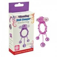 Виброкольцо с 3 утяжеляющими шариками фиолетовое Ball Banger Cock Ring