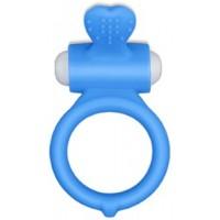 Виброкольцо голубое Power Heart Clit Cockring