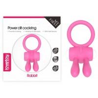 Розовое виброкольцо Power Clit Cockring Rabbit