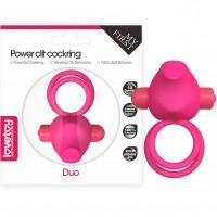 Двойное виброкольцо розовое Power Clit