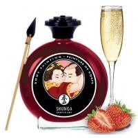 Съедобная крем-краска для тела Shunga Sparkling Strawberry Wine клубника с шампанским 100 мл
