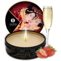 Массажная аромасвеча Shunga Romance Sparkling Strawberry Wine c ароматом клубники и шампанского 30 мл