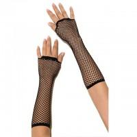Длинные черные перчатки в сетку