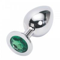 Большая анальная пробка Anal Jewelry Plug Silver Green L