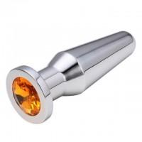 Конусная пробка с кристаллом Anal Plug Silver Orange L