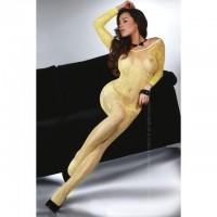 Сексуальный боди-комбинезон c длинными рукавами Abra Yellow