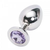 Большая анальная пробка Anal Jewelry Plug Silver Purple L