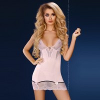 Пепельно-розовая сорочка с трусиками Stephanie L/XL